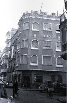 Hotel Progreso Barrio S. Pedro. Parece la calle Jara CArrillo, a la dcha la del arco de Verónicas (también derribado hace pocas décadas) Murcia. Tomás