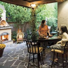 For a Small Space - Glowing Outdoor Fireplace Ideas - Southern Living Small Outdoor Spaces, Outdoor Decor, Small Backyard, Outdoor Rooms, Small Backyard Design, Exterior Design, Outdoor Fireplace, Small Yard Design, Small Space Gardening