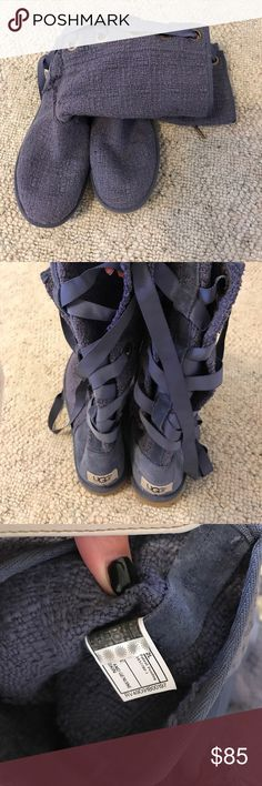 Purple ugg boots These are the heirloom boots that lace and tie in back.  Only worn a few times.   Super light weight. UGG Shoes Lace Up Boots