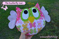 Fabric owl pillow owl plush owl softie  owl door CraftaholicShop, €25,00