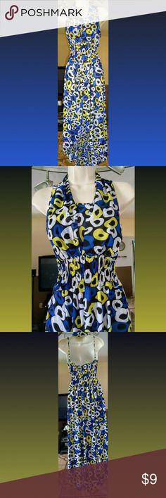 Blue Hi Low Halter Maxi Dress w/ Circles Size: XL Main Color: Royal blue w/ circle design Material: 95% Polyester 5% Spandex Dresses High Low