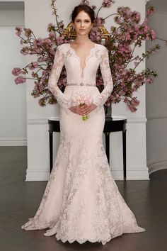 Legends by Romona Keveza Spring 2017 blush wedding dress with lace ivory overlay and long sleeves, plunging illusion neckline and beaded belt Long Sleeve Lace Gown, Long Sleeve Wedding, Wedding Dress Sleeves, Dress Lace, Lace Gowns, Lace Sleeves, Spring 2017 Wedding Dresses, Wedding Dress Styles, Bridal Dresses
