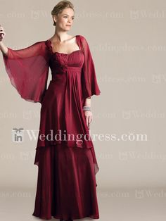 Elegant Chiffon Mother of the Groom Dress with Sleeves MO177
