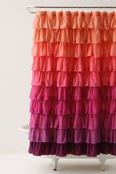 Anthropolgie's Smoldering Hue's Shower Curtain. Ruffles and brilliant colors- what's not to love?