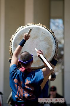 """Japanese big drum. RESEARCH DdO:) -  http://www.pinterest.com/DianaDeeOsborne/drums-drumming-joy/ - This is NOT Ōdaiko which means """"big taiko"""" & within any group among drummers in Japan, is largest drum in an ensemble. THIS is nagado- daiko (long-bodied taiko) is by far the most popular taiko used in modern kumi-daiko style playing. Different stands hold the nagado- daiko in various positions. Pinned via Mary Anscombe. Photo CREDIT: Dave Golden via flickr."""