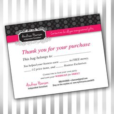 Custom Consultant Bag Tag Postcard Template polka by sweetmaggies, $10.00