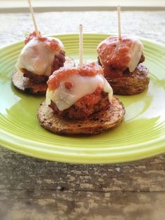 "Open-Faced ""Meatball Sub"" Sliders     (Gluten/Grain/Egg Free with Paleo/Dairy Free Instructions)."