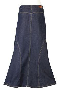Darling Denim Indigo Modest Skirt | Long Jean Skirt Plus Size 20