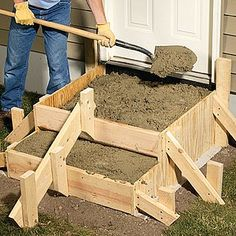 We'll walk you through the complete step-by-step process for laying out designing and building concrete steps. - March 09 2019 at Concrete Projects, Backyard Projects, Outdoor Projects, Concrete Crafts, Concrete Porch, Concrete Stairs, Deck Stairs, Outdoor Steps, Patio Steps