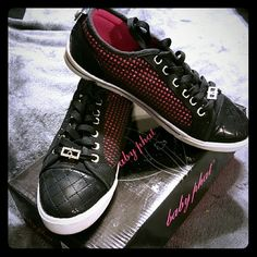 Sparkling Baby Phat Sneakers Dazzling pink and black Baby Phat Sneakers are stylishly eye catching. Gently worn comfortable fit Baby Phat Shoes Sneakers