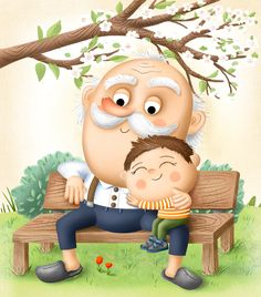 Cartoon Drawings, Art Drawings, Web Design Gallery, School Border, Family Drawing, Cartoon Painting, Project Ideas, Projects, Grandma And Grandpa