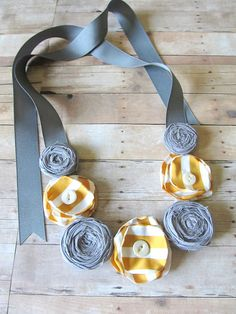 Fabric flower and ribbon necklace