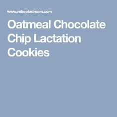 Oatmeal Chocolate Chip Lactation Cookies