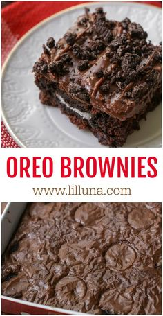 Everyone loves these Chewy Fudgy Oreo Brownies with a layer of Oreos in between! They're also topped with a creamy and chocolatey frosting with crushed Oreos taking regular brownies to a whole new level! Brownie Desserts, Dessert Oreo, Oreo Brownies, Köstliche Desserts, Brownie Recipes, Cookie Recipes, Delicious Desserts, Dessert Recipes, Yummy Food