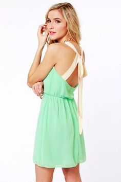 Cute Mint Green Dress - Backless Dress - Valentine's Day Dress code and Color code meanings: Green - I'm waiting