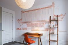 Orange Traditional Chinese Home Pattern Wallpaper Decoration And Traditional Wooden Desk Table Also Traditional Stair Bookshelves And Orange Swivel Chairs: Stylish and Elegant Interior Of Blue Penthouse in Shanghai