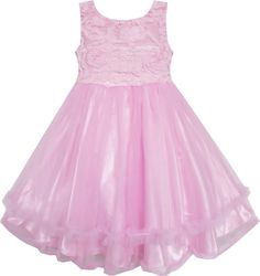 Girls Dress Pink Tulle Layers Embroidered Lace Pageant Wedding Size 2-10 Years
