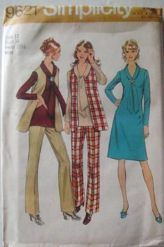 1970's Sewing Pattern  Dress or Tunic Vest and by Shelleyville, $8.00