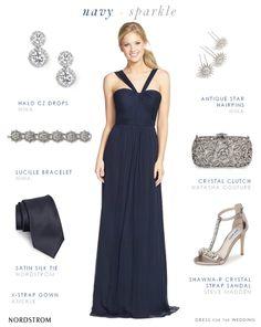 Navy blue bridesmaid gown Amsale