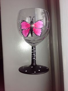 Handpainted wineglass whit butterfly.