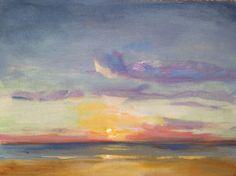Sunset Sea 9 x 12  Original Acrylic Painting Coastal by FabianArts, $300.00