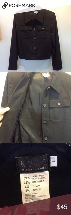 MK Black Wool/Cashmere Jacket Barely worn, was too tight for my daughter. Beautiful and easy to dress it up or down. Fully lined. Made in Italy! 😘 Michael Kors Jackets & Coats