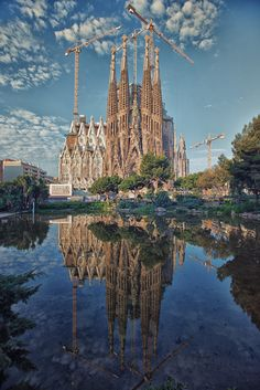 Double the Sagrada by Pat Charles on Antoni Gaudi, Place Of Worship, Barcelona Spain, Amazing Photography, Art Nouveau, Places To Go, Beautiful Places, Around The Worlds, Landscape