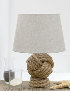 Pottery Barn Knockoff Rope Knot Lamp Oh my goodness, I am so excited about this darn lamp! It is such a close replica to the Pottery Barn Rope Knot Lamp that I am astounded each and Nautical Lamps, Nautical Bedroom, Nautical Home, Cool Diy, Monkey Knot, Make Your Own Pottery, Deco Marine, Lights Fantastic, Beach Crafts