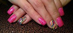 Light Elegance gel: Custom hot pink glitter gel with freehand paisley nail art