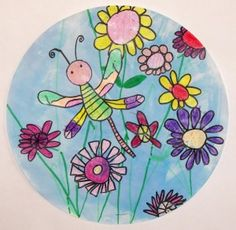 """Dragonfly in the Garden - """"First graders carefully observed the parts of a dragonfly as we drew it together step by step.  Large, medium and small flowers were added to create a garden.  A thick application of crayon resisted the watercolor sky."""""""