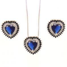 Conjunto brincos e colar coração pedra natural azul semi-joia
