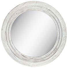 Distressed Round Mirror Large White Wood Wall Mount Bathroom Vanity Decor Accent #NeedfulThings #Rustic