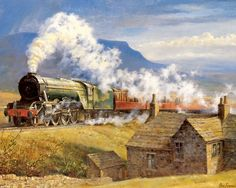 Trains from Alan Fearnley Train Drawing, Steam Art, Railroad History, Steam Railway, Travel Ads, Train Art, British Rail, Train Pictures, Train Engines