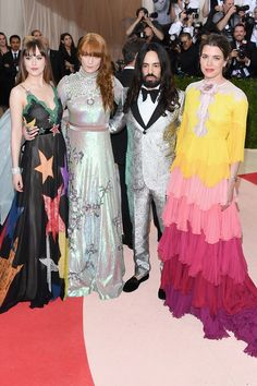 MET Ball 2016 Dakota Johnson, Florence Welch and Charlotte Casiraghi - all wearing Gucci - on the red carpet with Gucci's Alessandro Michele