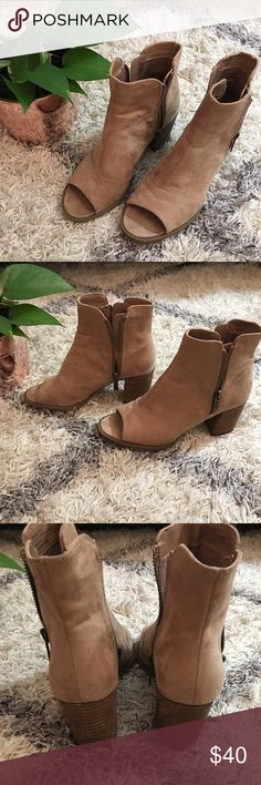 """Suede Peep-Toe Ankle Booties Mari A. Suede peep-Toe ankle booties in Tan. Size 6.5. Lightly used - only worn twice. In excellent condition! Zippers on both sides of ankle. 2.5"""" heel. Shoes Ankle Boots & Booties"""
