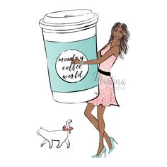 Monday coffee girl fashion illustration