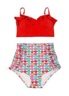Pin Up Swimsuit, Swimsuit Pattern, Bikini Set, Retro High Waisted Bikini, High Rise Bikini, Midkini Tops, Retro Bathing Suits, Swim Dress, Swimsuits