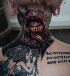 Sandry Riffard's Horror gallery Best 3d Tattoos, Evil Tattoos, Creepy Tattoos, Life Tattoos, Horror Tattoos, Skull Tattoos, Back Of Neck Tattoo, Leg Sleeve Tattoo, Dark Art Tattoo