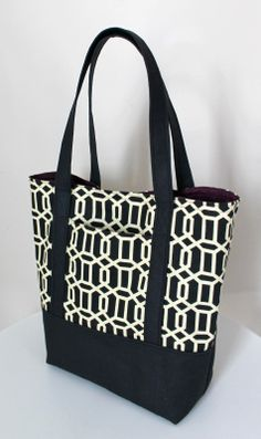 Tutorial: Lined Canvas Tote | Step by step directions how to sew a fully lined, canvas Tote Bag with an outer pocket and a reinforced bottom...