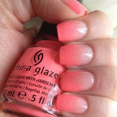 china glaze flip flop fantasy & essie petal pink gradient with china glaze fairy dust on top