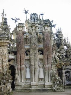 Ferdinand Cheval Palais Idéal ..Cheval began the building in April 1879. He claimed that he had tripped on a stone and was inspired by its shape.   For the next thirty-three years, Cheval picked up stones during his daily mail round and carried them home to build the Palais idéal. He spent the first twenty years building the outer walls. At first, he carried the stones in his pockets, then switched to a basket.  He often worked at night, by the light of an oil lamp.