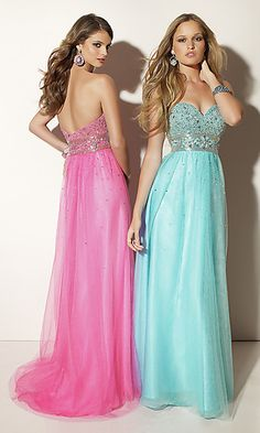 Strapless sweetheart floor length dress with embellished empire waistline and beaded bust.