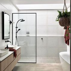 We seriously love a skylight and this shower is no exception. Not to mention this bathroom is a dream of meets. Diy Bathroom Decor, Budget Bathroom, Bathroom Inspo, Bathroom Inspiration, Bathroom Interior, Small Bathroom, Bathroom Ideas, Bathroom Designs, Concrete Basin