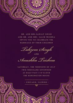 Indian Inspired Invitations in Purple is part of Wedding card design indian Vibrant hues, intricate illustrations, and a touch of shimmer define this intricate invitation As if the hennainspired an - Indian Wedding Invitation Wording, Wedding Invitation Background, Engagement Invitation Template, Wedding Background, Unique Wedding Invitations, Wedding Invitation Templates, Indian Invitations, Shower Invitations, Wedding Stationery