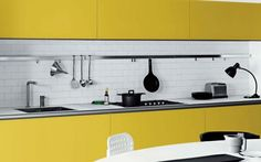 Cool White and Yellow Kitchen Design 2015