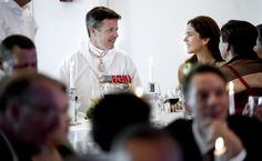Crown Prince Frederik and Crown Princess Mary of Denmark attend a gala dinner in their honor during their tour of Greenland Aug. 7, 2014.