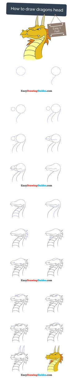 Learn How to Draw a Dragon's Head: Easy Step-by-Step Drawing Tutorial for Kids and Beginners. #dragon #drawing. See the full tutorial at https://easydrawingguides.com/how-to-draw-dragon-head/