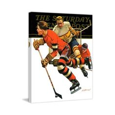 Marmont Hill Ice Hockey Match Fine art canvas print from the Marmont (£145) ❤ liked on Polyvore featuring home, home decor, wall art, canvas art, wall decor, vintage wall art, vintage home decor, vintage sports wall art and sports wall art