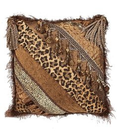 Bronze animal pieced square Luxury Accent Pillow with tassels, beads, and decorative trims by Reilly-Chance Collection.