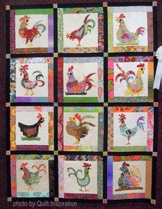 Nadia and many more by Rosemarie Snow, quilted by Debbie Stanton. Pattern by Sindy Rodenmayer. Most fabrics were Kaffe Fassett. 2016 Quilt Arizona, photo by Quilt Inspiration. Cute Chickens, Chickens And Roosters, Chicken Quilt, Chicken Pattern, Chicken Crafts, Chicken Art, Bird Quilt, Animal Quilts, Galo